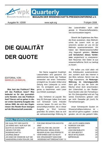 WPK-Quarterly I 2008 - Institut für Journalistik