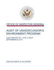 Audit of USAID/Ecuador's Environment Program - US Agency For ...