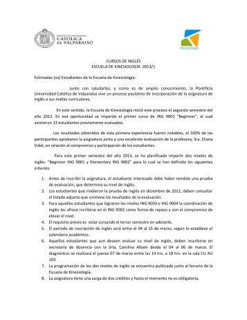 CURSOS DE INGLÉS ESCUELA DE KINESIOLOGÍA 2013 ... - Altavoz