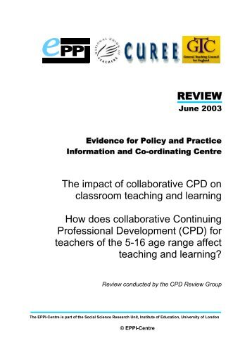 How does collaborative CPD for teachers of the 5-16 age ... - CUREE