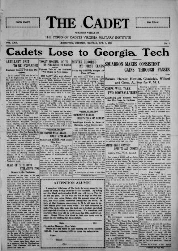 The Cadet. VMI Newspaper. October 08, 1928 - New Page 1 [www2 ...