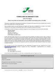 FORMULAIRE DE DEMANDE D'AIDE EAU POTABLE - Agence de l ...