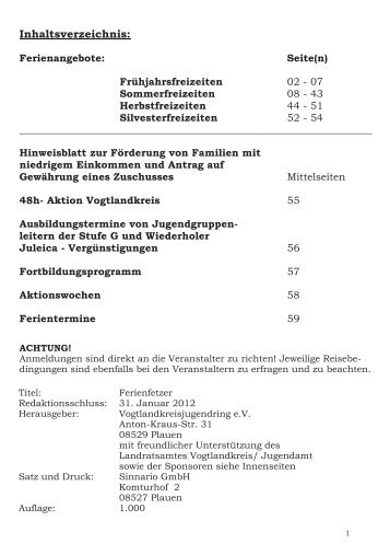 Ferienfetzer - Vogtlandkreisjugendring eV