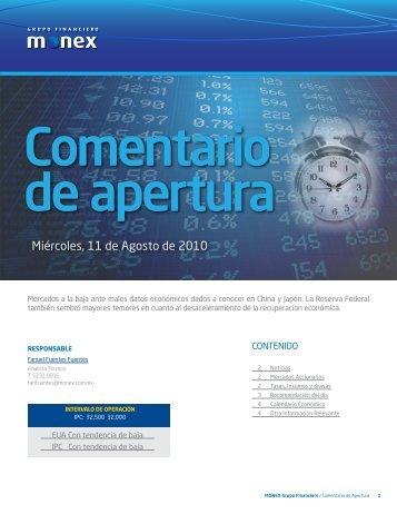 Miércoles, 11 de Agosto de 2010 - Monex