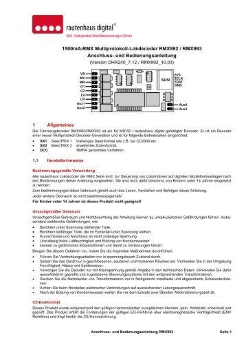 Anleitung RMX-Lokdecoder RMX992/RMX993 - MDVR