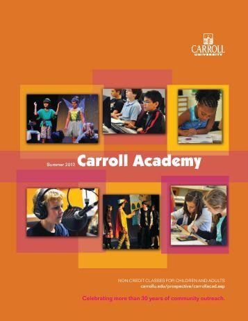 Summer 2012 Carroll Academy - Carroll University
