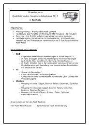 Hinweise zum Qualifizierenden Hauptschulabschluss 2013 in Technik