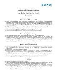 Allgemeine Einkaufsbedingungen der Becker Stahl-Service GmbH