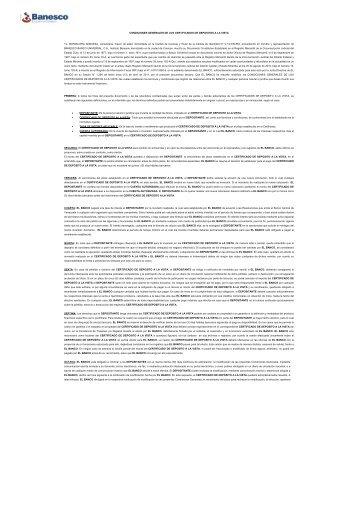 Condiciones Generales de los Depósitos a la Vista - Banesco