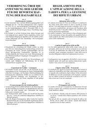 Regolamento per l'applicazione della tariffa per la