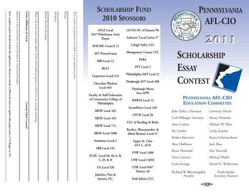 2011 Pennsylvania AFL-CIO Scholarship Essay Click