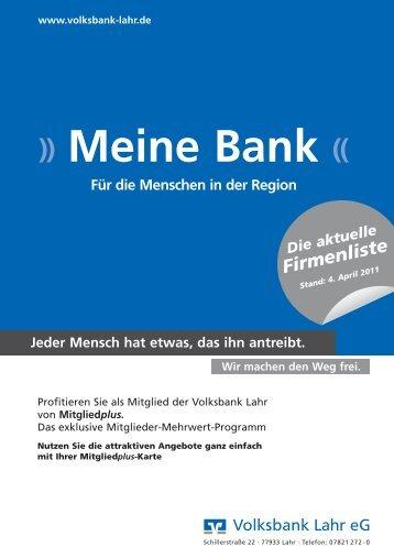 Mitgliedplus Liste_Mrz_2011_DRUCK ... - Volksbank Lahr eG