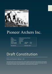 Draft Constitution Pioneer Archers Inc.
