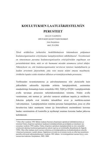 KOULUTUKSEN LAATUJÄRJESTELMÄN PERUSTEET - TieVie