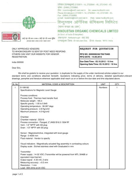 REQUEST FOR QUOTATION - Hindustan Organic Chemicals Limited
