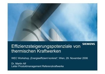 Effizienzsteigerungspotenziale von thermischen Kraftwerken - WEC