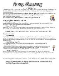 Year 4 Camp Activities form - Croydon Hills Primary School