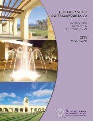 CITY OF RANCHO SANTA MARGARITA, CA CITY MANAGER