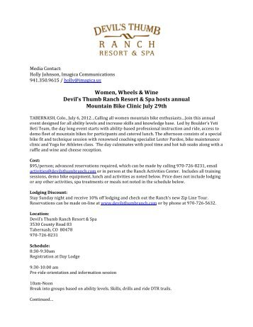 Women, Wheels & Wine Devil's Thumb Ranch Resort & Spa hosts ...