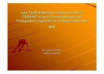 Les Tarifs Extérieurs Communs de la CEDEAO et ... - Fondation FARM