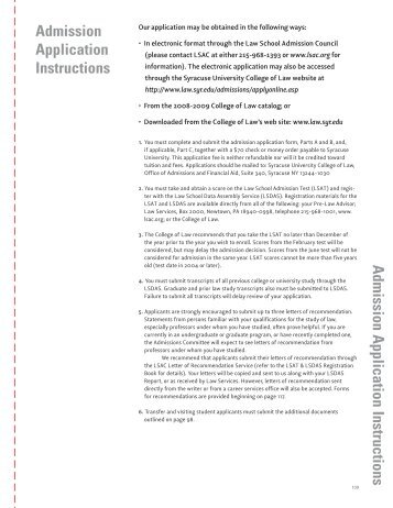 Admission Application Instructions Admission Application Instructions