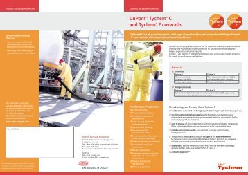 DuPontTM Tychem® C and Tychem® F coveralls