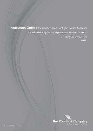 the Conservation Egress Rooflight Installation Manual