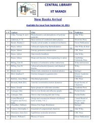 CENTRAL LIBRARY IIT MANDI New Books Arrival Available for ...