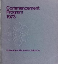 University of Maryland at Baltimore : Commencement Program, 1973