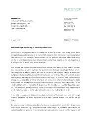 Plesners brev til Advokatrådet vedrørende den fremtidige regulering ...