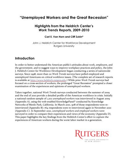 """""""Unemployed Workers and the Great Recession"""" - John J. Heldrich ..."""