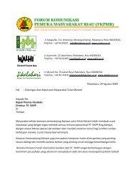 Dukungan Atas Keputusan Masyarakat Teluk Meranti Kepada Yth