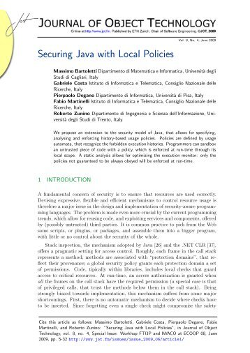 Securing Java with Local Policies - The Journal of Object Technology