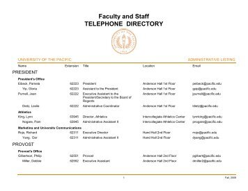 Faculty and Staff TELEPHONE DIRECTORY - University of the Pacific