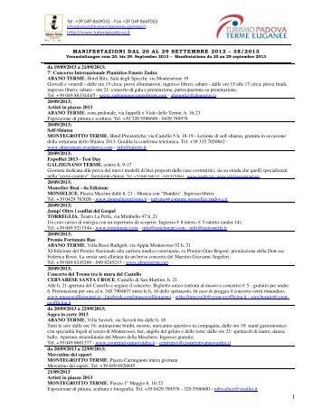 MANIFESTAZIONI DAL 21 AL 30 SETTEMBRE 2012 - Hotel Petrarca