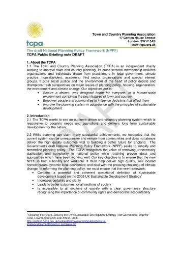 TCPA Draft Public Briefing on the National Planning Policy ...