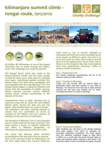 kilimanjaro summit climb - rongai route, tanzania - Charity Challenge