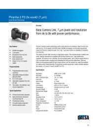 Piranha2 P2-2x 7µm Datasheet - Teledyne DALSA Inc