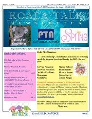 Koala Talk Newsletter - April 2013 - Cowlishaw Elementary School