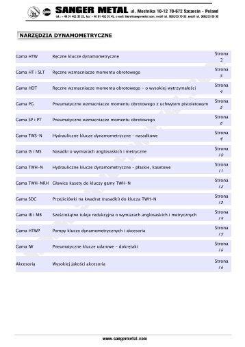 narzędzia dynamometryczne 2 3 4 5 8 9 1 0 1 1 1 ... - SANGER METAL