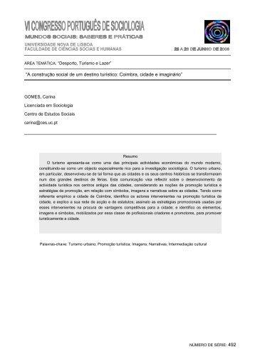 """""""A construção social de um destino turístico: Coimbra, cidade e ..."""