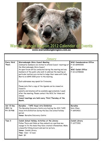 Warrumbungle Region 2012 Calendar of Events