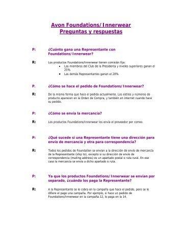 Avon Foundations/Innerwear Preguntas y respuestas