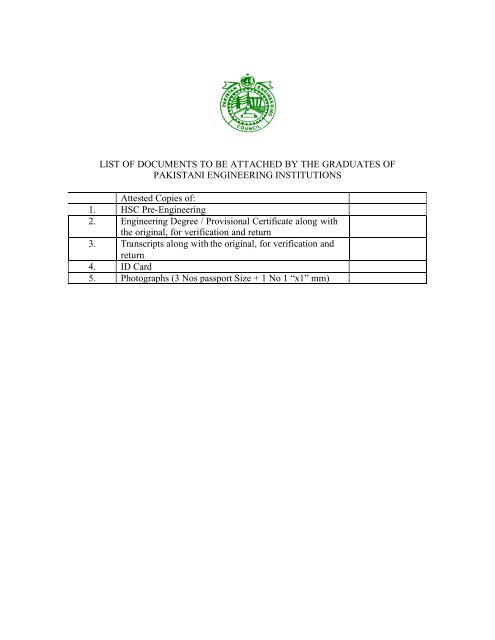 List of documents to be attached by the graduates - Pakistan