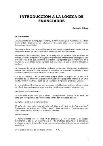 INTRODUCCION A LA LÓGICA DE ENUNCIADOS - Casanchi