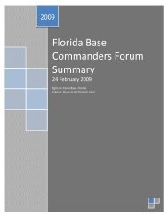 Florida Base Commanders Forum Summary - Florida Defense Alliance