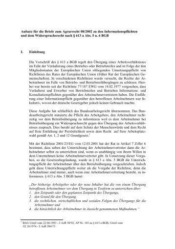 Aufsatz für die Briefe zum Agrarrecht 08/2002 zu den ...