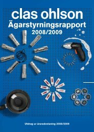 Bolagsstyrningsrapport 2008/2009 - Clas Ohlson