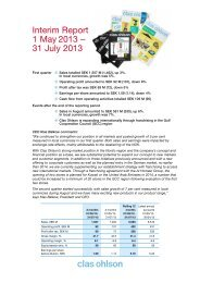 Interim Report 1 May 2013 – 31 July 2013 - Clas Ohlson