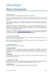 Etiske retningslinjer - Clas Ohlson